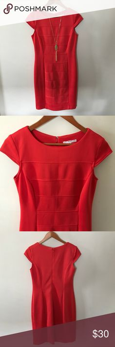 """NWOT Studio One Red Sheath Dress New without tags, Studio One sheath dress with cap sleeves. Like New, no wear, no flaws. 95% polyester, 5% spandex. Chest 34"""", length 37"""", hits right above knee. Flattering figure style fitting close to body, color is a tomato red, & unlined. Great for business/ofc, night out or special event. Clean, non-smoking home. All clothes in my listings are clean & also freshly laundered before packaging unless NWT or NWOT. Posh Ambassador, 5⭐️avg rated, ship quickly…"""