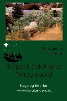 Å dekke et fint julebord med gjenbruk behøver ikke å koste så mye. Her viser jeg deg hvordan jeg gjorde det dette året med å ta fram pynt fra esken med det rare i. På dette julebordet er det absolutt gjenbruk. #gjenbruk #gjørdetselv #borddekking #tablesetting #jul #christmasinspiration #furulunden #julepynting Christmas Decorations, Christmas Tree, Holiday Decor, Table Settings, Tips, Inspiration, Home Decor, Teal Christmas Tree, Biblical Inspiration