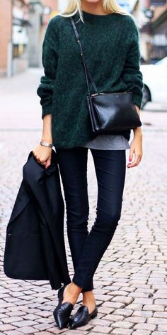 Fuzzy sweater + leather cross-body + black slip-on heels