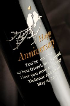 Great anniversary gift idea! A one of a kind, custom-etched bottle of wine from Etching Expressions. Use one of our classic designs or upload your own image. Get up to 25% OFF today. Use code CELEBRATE25.