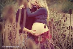 maternity photo in field - fall colors vintage treatment