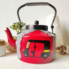 Items similar to Red Rickshaw-hand-painted teapot/kettle form India on Etsy Beginner Painting, Indian Home Decor, Diy Planters, Plant Holders, Bottle Art, Mild Soap, Thoughtful Gifts, A Table, Tea Pots