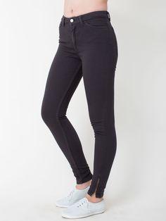 Stretch Bull Denim Side Zip Pant