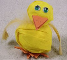Tennis Ball Baby Duck:   Ultra-cute baby duck figure made with a new tennis ball and a large yellow pom-pom on http://www.parentingextra.com/seasonal/easter/easter-toys-and-party-games/homemade-easter-toys-larger-easter-toys?ref=pinterest