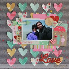 13 Love Scrapbook Layout with Colorful Paper Hearts