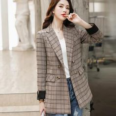 Long Brown Coat, Brown And Grey, England Fashion, Plaid Fashion, Double Breasted Jacket, Dress Suits, Jacket Style, Gray Color, Blazer