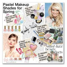 """""""Pastel Makeup Shades for Spring"""" by helleka ❤ liked on Polyvore featuring beauty, Estée Lauder, Bare Escentuals, Chanel, Urban Decay, Laura Mercier, AERIN, Butter London, Giorgio Armani and Christian Dior"""