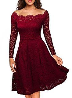 MIUSOL Estivi Vintage Donna Vestito Pizzo Casual Cerimonia Manica Corta Vestiti Rosso Small