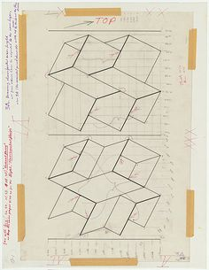 """garadinervi: """" Josef Albers, Preliminary drawing for """"White embossing on gray I""""…"""