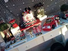 Mickey Mouse race car birthday party! See more party ideas at CatchMyParty.com!