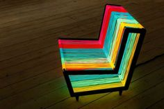 Created by Kiwi&Pom; for Wallpaper Magazine, the Disco Chair is a conceptual piece of furniture, made from about 600 feet of colorful electroluminescent wire.