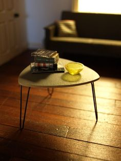 LARGE - GREY Triangular Coffee table with hairpin legs from Etsy miniaturesbyannina