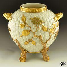 Beautiful Antique Porcelain Royal Worcester Vase Basket Weave White Gilt C 1881 | eBay