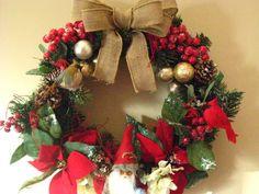 Rustic Christmas wreath with santa woodland modern by betsstuff, $25.00