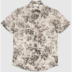 1bd3e7e92547 Gucci Herbarium Print Cotton Duke Shirt (£300) via Polyvore featuring men's  fashion,