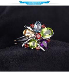 Amazing Flower Multicolor 3.1ct Natural Amethyst, Garnet, Peridot, Citrine, Blue Topaz 925 Sterling Silver Ring