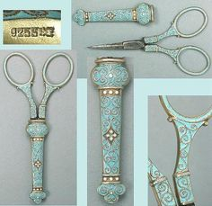 Rare Norwegian Enameled Sterling Silver Scissors by David Andersen* Early 20th