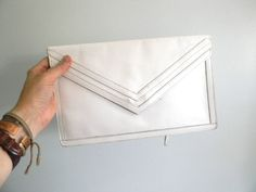 vintage 70s Retro White Leather Clutch / Large by styleforlife