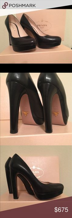 Prada platforms like new, in fantastic condition! Black leather Prada platform pumps in gorgeous condition, gold Prada logo on bottom, super hot shoes! Authentic! Original box and dust bag included. Prada Shoes Heels