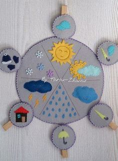 Weather chart from felt – Educational Toy Ideas Creative Activities For Kids, Preschool Learning Activities, Infant Activities, Preschool Activities, Diy For Kids, Felt Crafts Kids, Quiet Book Patterns, Felt Quiet Books, Montessori Toys