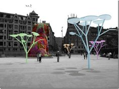 """The use of solar energy will make a fairy tale come true and give energy saving and environmental preservation of the industrial city. The uTree concept is one of the most realistic concepts for urban energy generation since these """"trees"""" can be installed virtually anywhere as they do not require more than a few inches of floor space for the supporting pole and take up a few square feet of overhead space."""