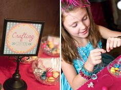 Dress-Up theme party activity - make necklaces at a crafting station