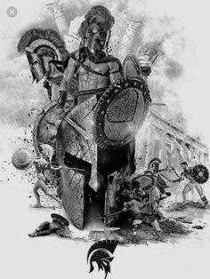 Greek Mythology Tattoos, Greek And Roman Mythology, Koi Dragon Tattoo, Tattoo Pierna, Spartan Tattoo, Helmet Tattoo, Jewel Tattoo, Spartan Warrior, Warrior Tattoos