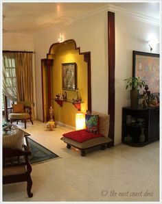 Beautiful Niche Created By Using Pillars Indian Living Rooms Diy Home Decor Indian Home