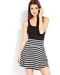 White and Black Horizontal Striped Skater Skirt: Forever 21 Favorite Striped Skirt