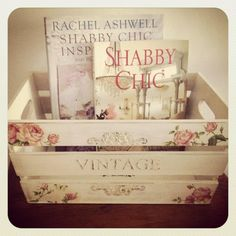 ❤(¯`★´¯)Shabby Chic(¯`★´¯)°❤ … JoAnn's sells unfinished wood crates like this. I like this idea for holding my decorating magazines.
