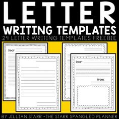 Free - Enjoy these 24 letter writing templates. Select from dotted lines, regular lines, picture space, lines to include date, Dear + From prompts + more! Letter Template For Kids, Letter Writing Template, Letter Templates Free, Letters For Kids, Writing Letters, School Template, Letter To Teacher, First Grade Writing, Picture Letters