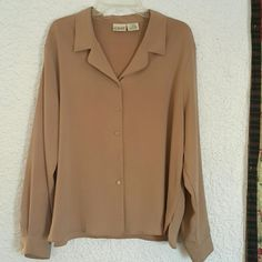 Women's blouse Light brown women's blouse, gently worn, one small spot and missing a botton. But one could be taken from the sleeve. Liz Baker  Tops Blouses