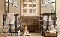 Nursery Designs to Inspire Expecting Moms:twin baby boy and girl room with chandeliers