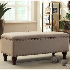 New Upholstered Storage Bench Ottoman Furniture Seat Foot Stool Living Room Rest 135