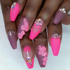 Pink and mauve coffin nails