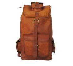 Small Designer Leather Backpack made of genuine brown leather with is perfect vintage brown look.