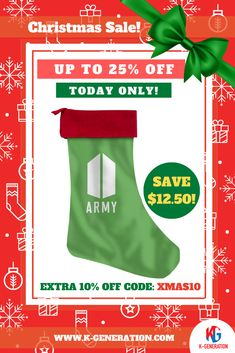 🚨 ARMYS are going CRAZY for these! 🎅 ThePerfect Size& Easily Hung  ⚠️ SALE ENDS in 24 HOURS!  👆 CLICK IMAGE TO SHOP👆  #btschristmas #btsstocking #christmasstocking #kpopchristmas #btsarmy