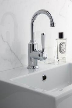 A50.03.PL Signature Basin Mixer with White Porcelain lever