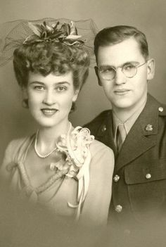 +~+~ Vintage Photograph ~+~+ Beautiful Couple married during WW 2 ~ February 12, 1944.
