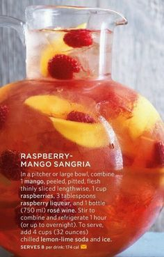 Raspberry- Mango Sangria looks delicious! For more amazing Sangrias try any of our three flavors of MYX Sangria! Party Drinks, Cocktail Drinks, Fun Drinks, Alcoholic Drinks, Liquor Drinks, Bourbon Drinks, Mango Sangria, Raspberry Sangria, Rose Sangria