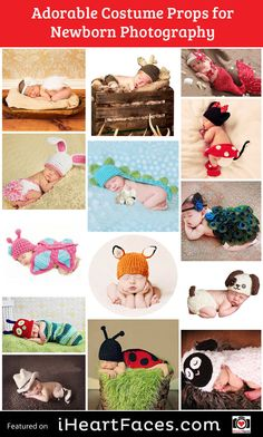 Adorable Crochet Baby Costumes - Cute Props for Newborn Photos! Newborn photography props to stock up on. iHeartFaces.com