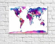 Christmas gifts world map poster world map decor watercolor map canvas world map print world map canvas world map wall art custom quote map prints large world map large canvas prints gumiabroncs Gallery