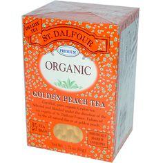 St. Dalfour, Organic, Golden Peach Tea, 25 Tea Bags, 1.75 oz (50 g) - iHerb.com. Bruk gjerne rabattkoden min (CEC956) hvis du vil handle på iHerb for første gang. Da får du $5 i rabatt på din første ordre (eller $10 om du handler for over $40), og jeg blir kjempeglad, siden jeg får poeng som jeg kan handle for på iHerb. :-)