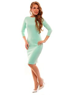 Rochie De Damă LEMONIADE #Rochie_De_Damă #mint_dress #mint_fashion #mint_color #long_sleeve #women_style #women_fashion