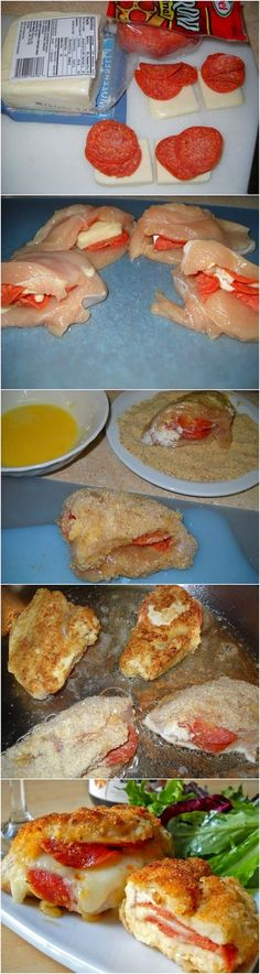 Pepperoni  Mozzarella Stuffed Chicken Breasts Recipe (I use Cup4Cup flour  Ian's bread crumbs) this is a family favorite! ~GF Cheryl~