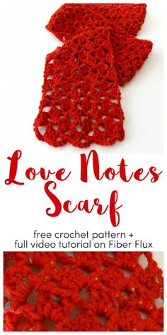 Love Notes Scarf, free crochet pattern + full video tutorial on Fiber Flux See other ideas and pictures from the category menu…. Shawl Crochet, Crochet Scarves, Crochet Clothes, Easy Crochet, Knitted Shawls, Crochet Top, Crochet Flower Patterns, Crochet Stitches Patterns, Crochet Flowers