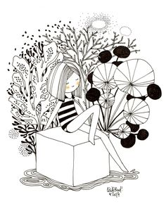 une naïade - les chosettes Art And Illustration, Black And White Illustration, Illustrations, Doodle Drawings, Cartoon Drawings, Easy Drawings, Flower Line Drawings, Botanical Line Drawing, Painting & Drawing