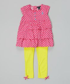 Another great find on #zulily! Pink Polka Dot Top & Yellow Leggings - Infant, Toddler & Girls #zulilyfinds