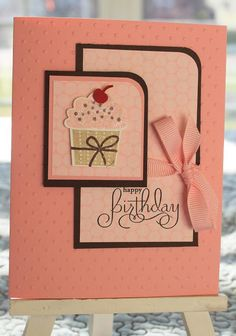 handmade birthday card ... coral with black mats and ink .. cupcake focal image ... Stampin' Up!