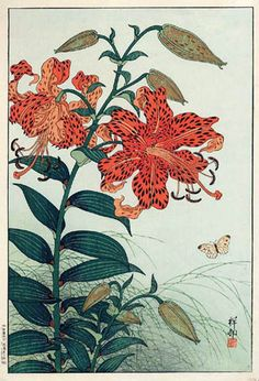 hanga gallery . . . torii gallery: Tigerlily and Butterfly by Ohara Koson